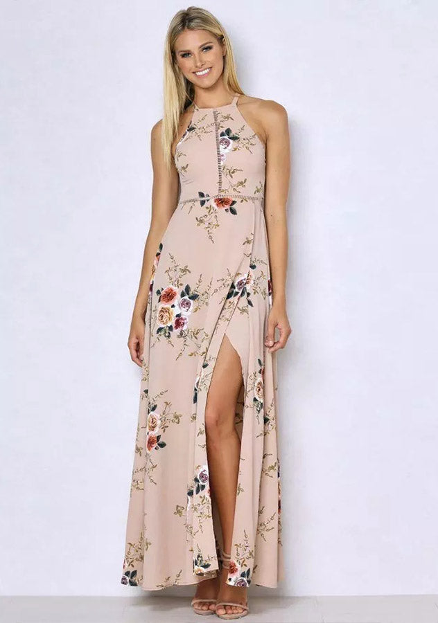 Floral Print Beach Halter Split Backless Long Dress | Edlpe