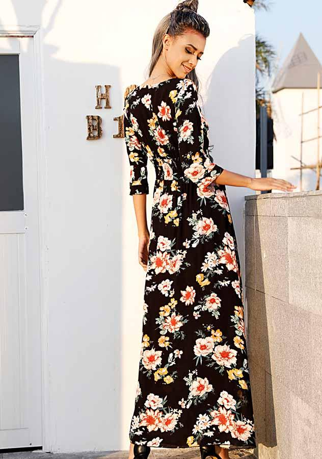 Fashion Casual Half Sleeves Floral Black Lace Up Holiday Front Slit Long Dress | Edlpe