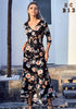 Image of Fashion Casual Half Sleeves Floral Black Lace Up Holiday Front Slit Long Dress | Edlpe
