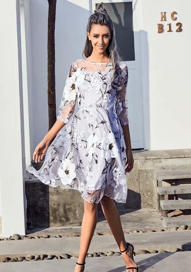 Floral Print Mini Gauze Double-Layer Party Dress | Edlpe