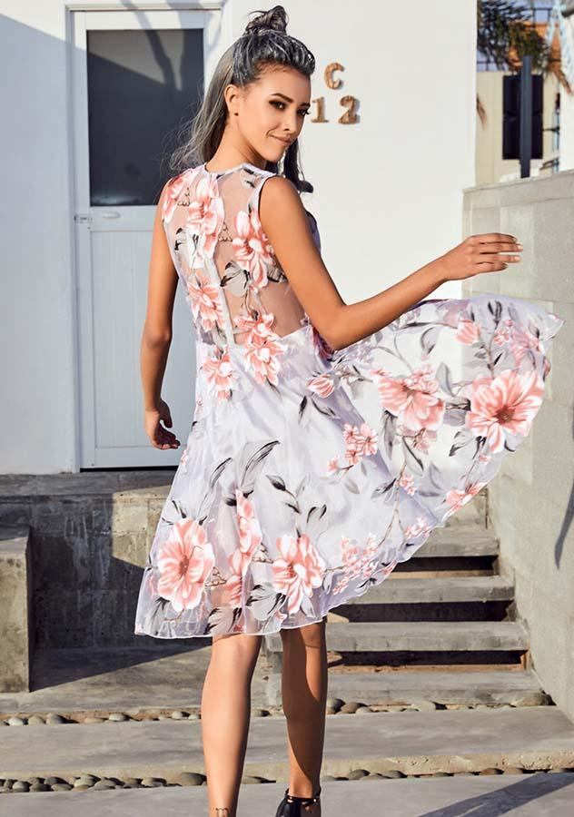 Pink See Through Back Floral Print Sleeveless Party Dress | Edlpe
