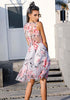 Image of Pink See Through Back Floral Print Sleeveless Party Dress | Edlpe
