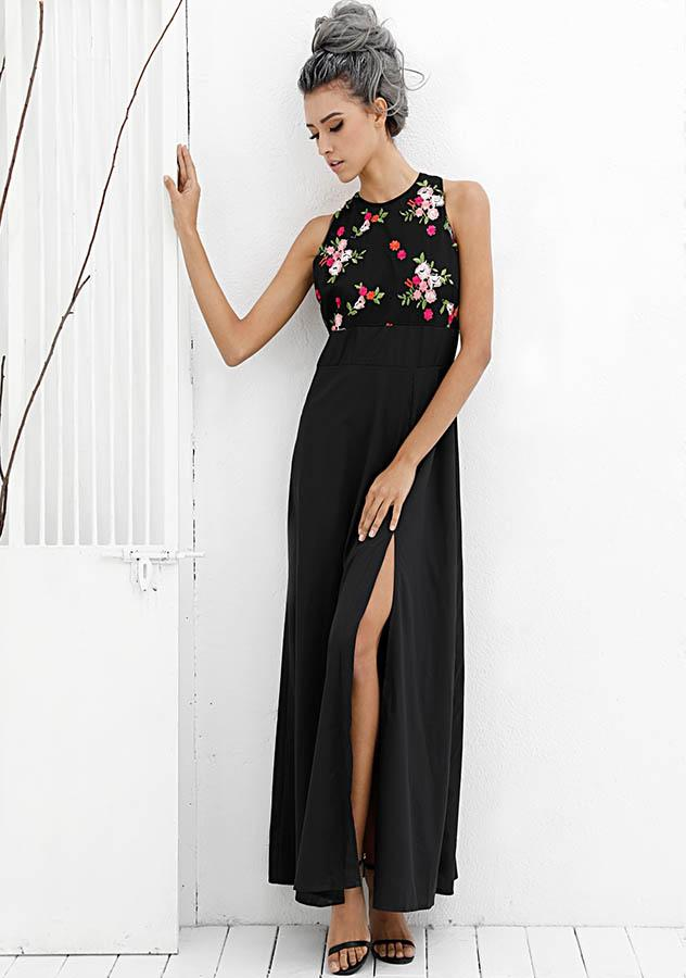 Elegant Sleeveless Floral Print High Waist Side Slit Cocktail Party Long Dress | Edlpe