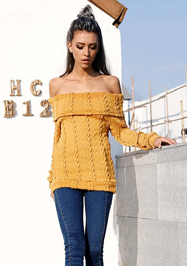 Women Mustard Off Shoulder Long Sleeves Knitted Sweater | Edlpe
