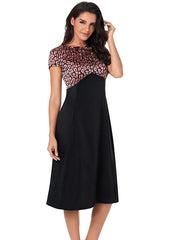 Lady Fashion Black Leopard Print Lace Up High Waist Midi Dress