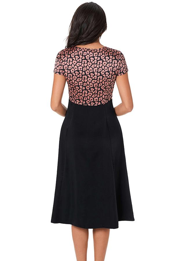 Lady Fashion Black Leopard Print Lace Up High Waist Midi Dress | Edlpe
