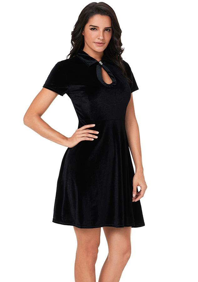 Retro Black Short Sleeves Velvet Mini Dress | Edlpe