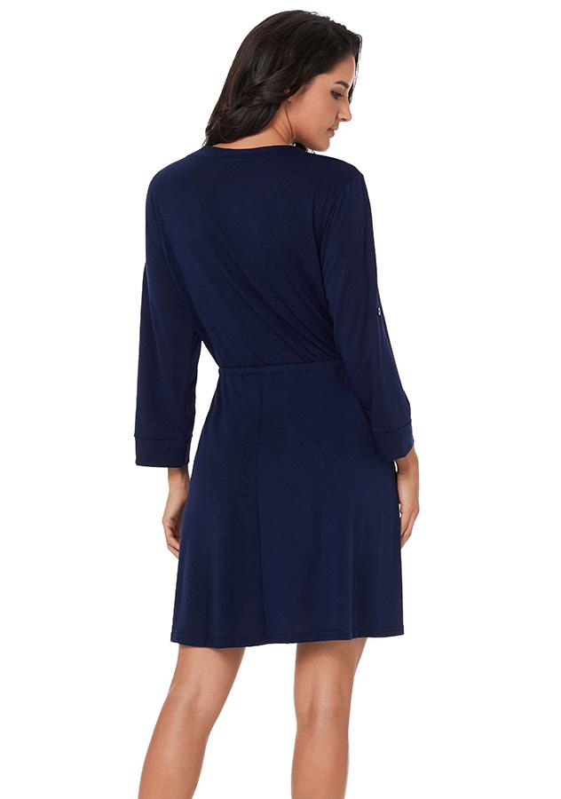 Women Dark Blue V Neck Long Sleeves Dress Plus Size | Edlpe