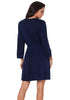 Image of Women Dark Blue V Neck Long Sleeves Dress Plus Size | Edlpe