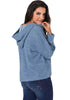 Image of Blue Pullover V Neck Casual Roll Up Long Sleeves Loose Knit Sweater | Edlpe