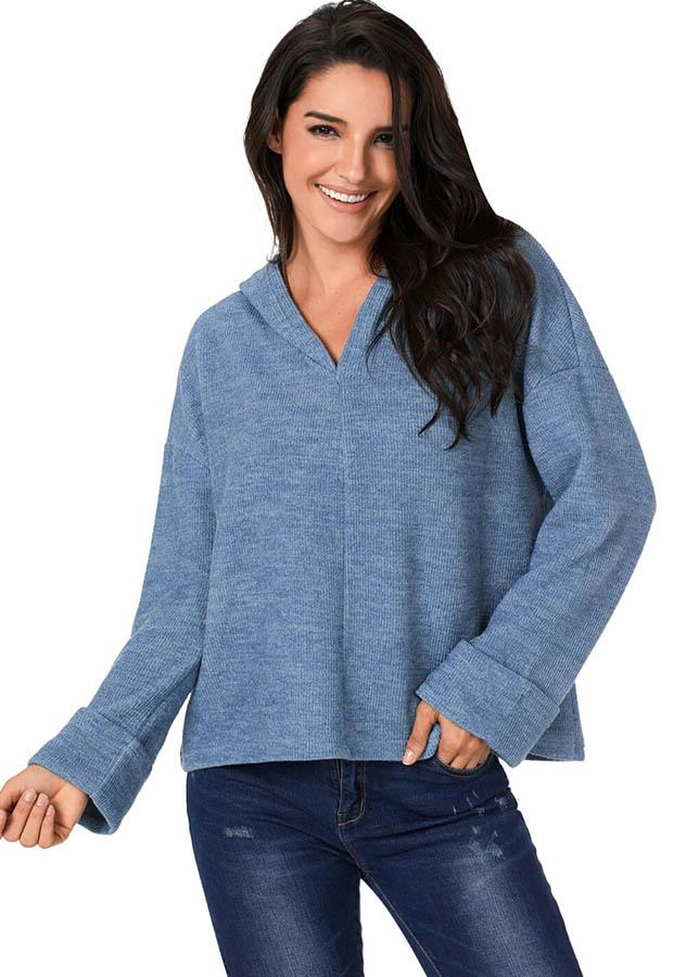Blue Pullover V Neck Casual Roll Up Long Sleeves Loose Knit Sweater | Edlpe