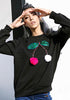 Image of Black Long Sleeves Sequin Pompon Cherry Sweatshirt | Edlpe