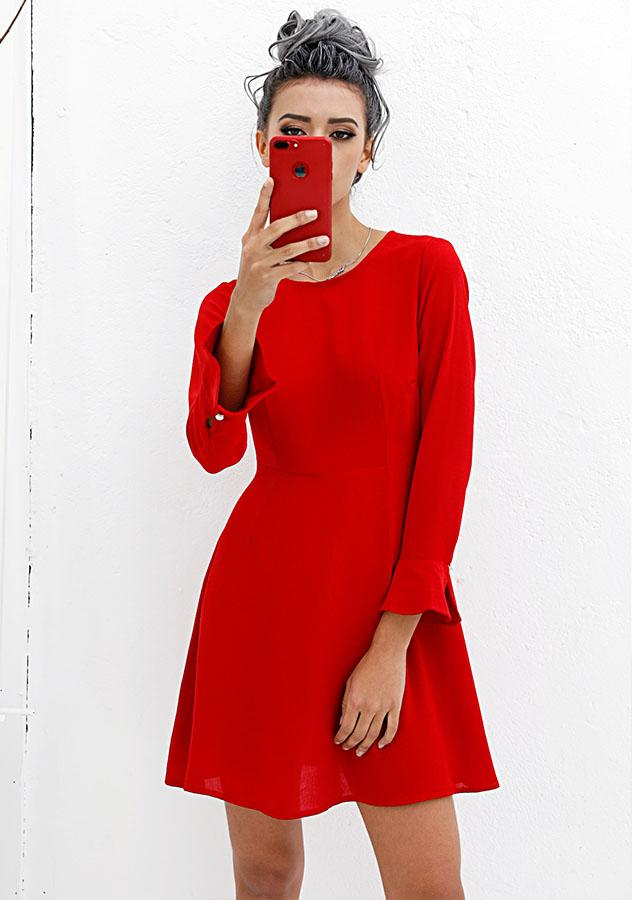 Women Red Backless Bell Sleeves Party Dress | Edlpe