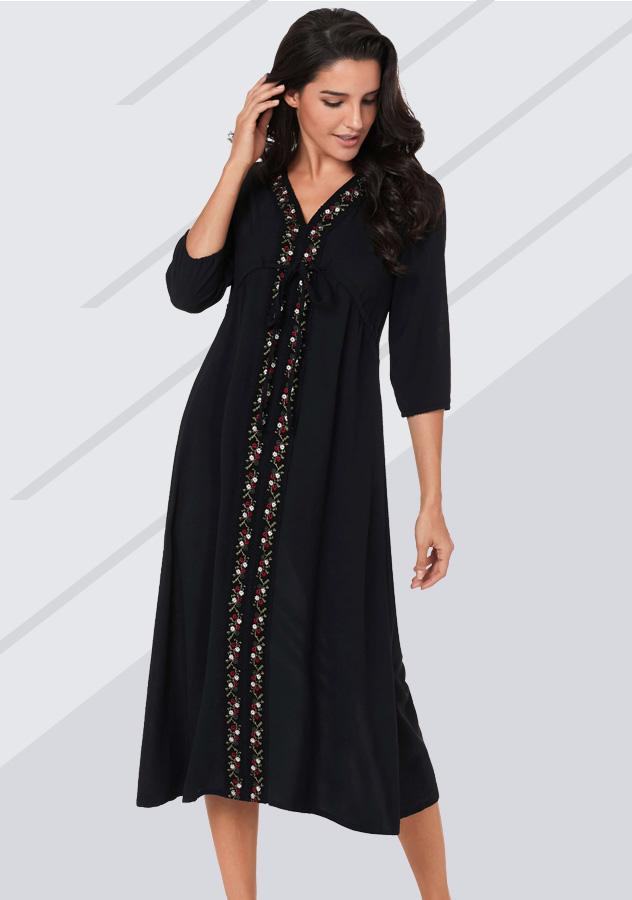 Sexy Long Sleeves V Neck Embroidery Dress | Edlpe