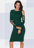 Image of Women Casual Green Lace Up Knit Dress | Edlpe