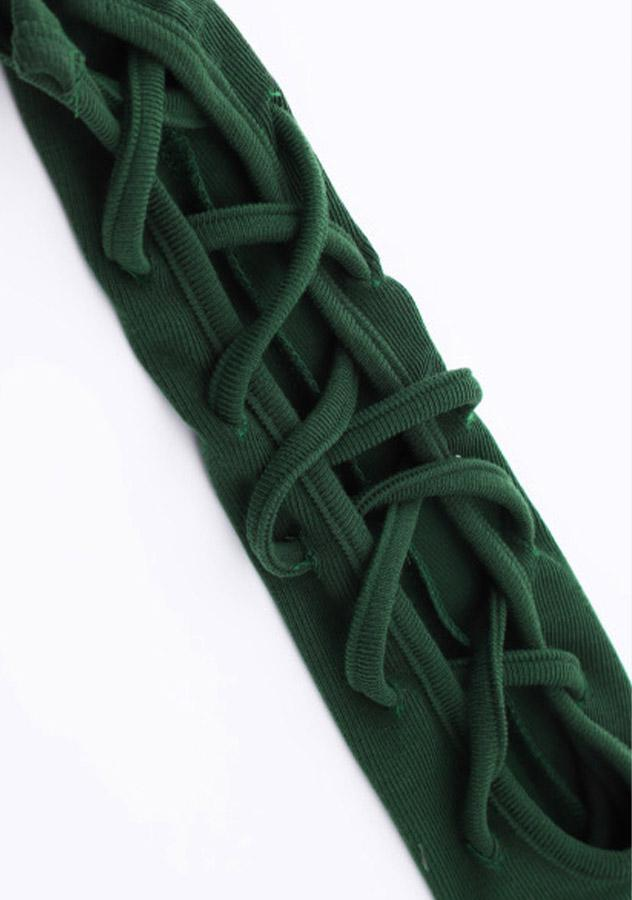 Women Casual Green Lace Up Knit Dress | Edlpe