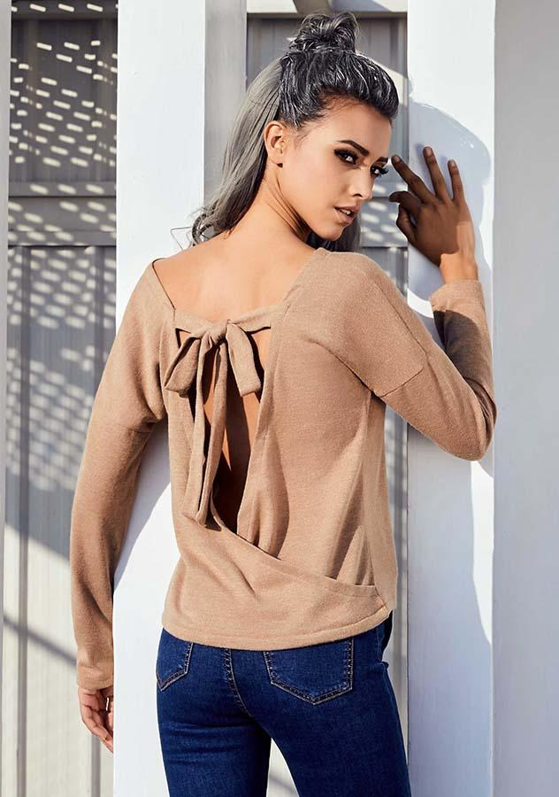 Women Sexy Lace Up Backless Long Sleeves Sweater | Edlpe