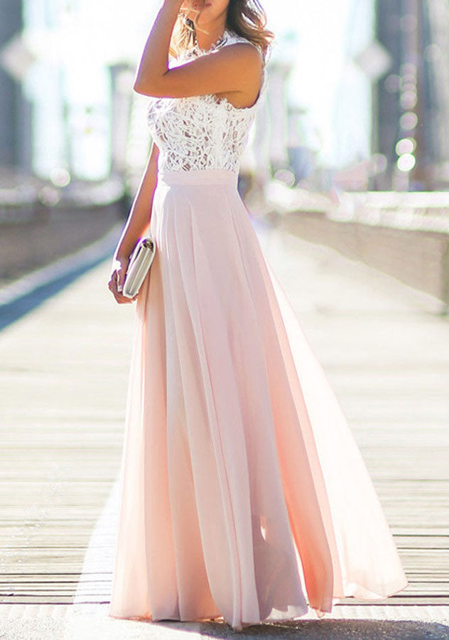 Sleeveless Lace Chiffon Maxi Dress | Edlpe