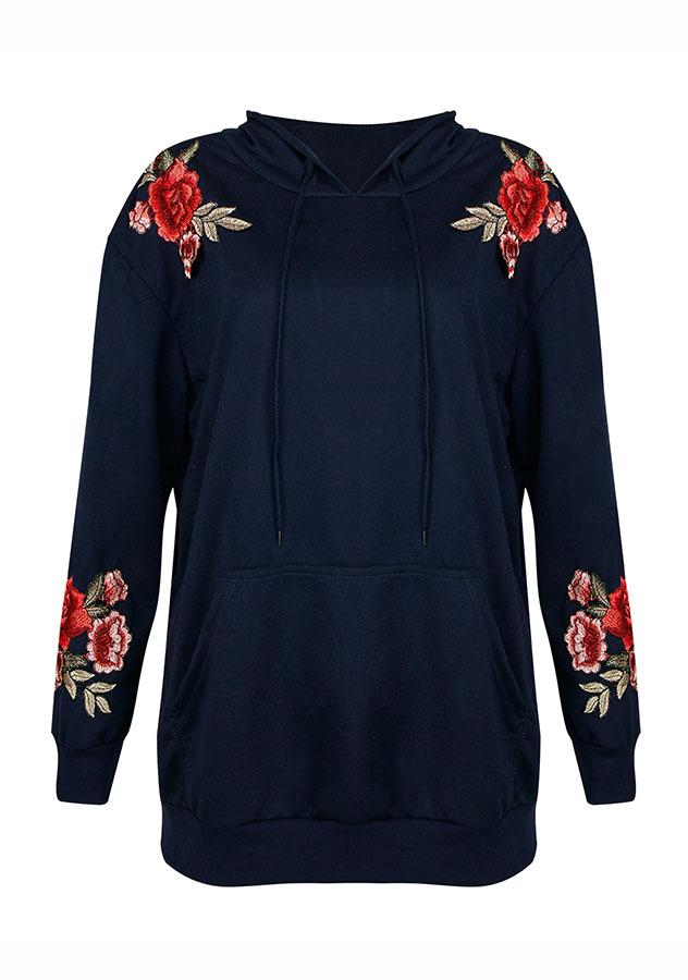 Round Neck Rose Embroidery Pocket Hoodie | Edlpe