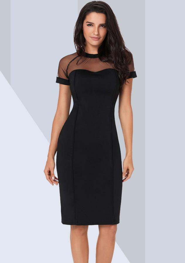Women Fashion Black Sexy Mesh Short Sleeves Party Dress | Edlpe