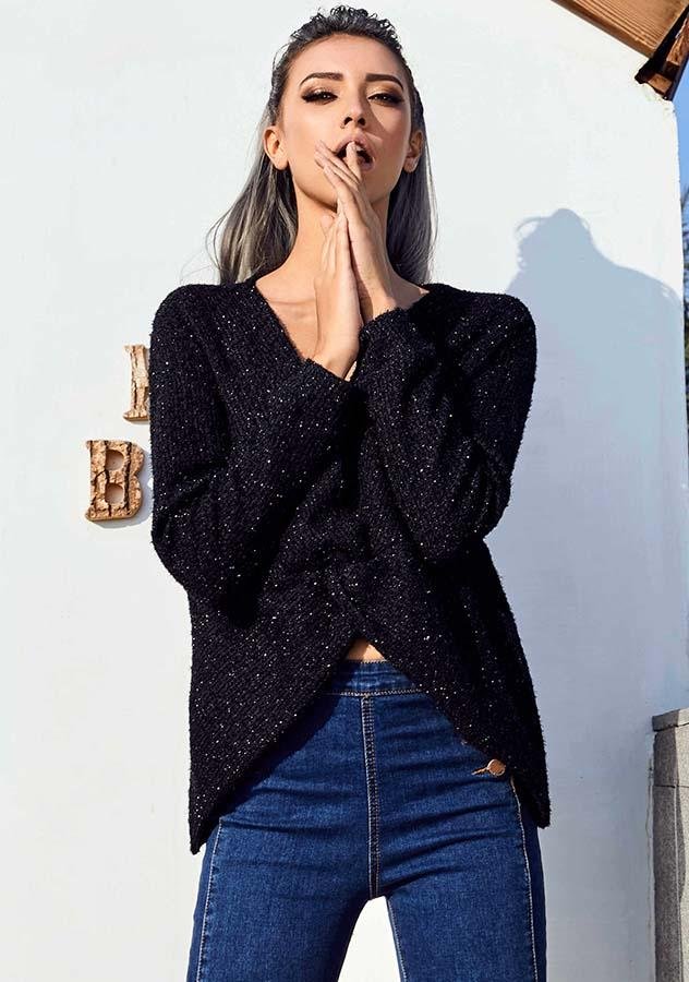 Women Fashion Black Sexy V Neck Long Sleeves Sweater | Edlpe