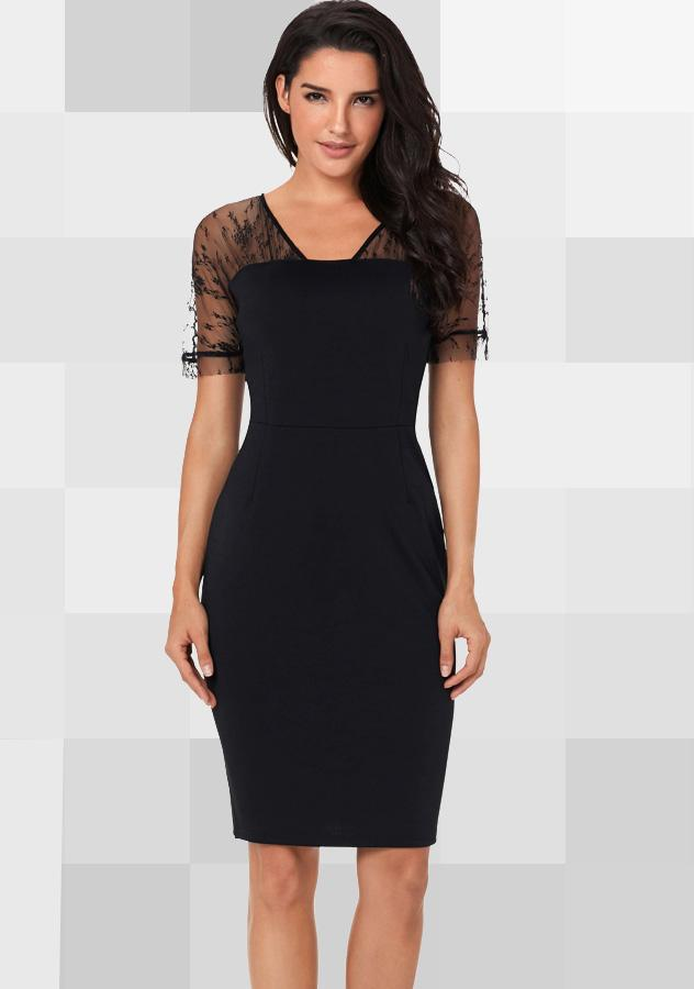 Women Stylish Black Sexy Mesh Short Sleeves Party Dress | Edlpe