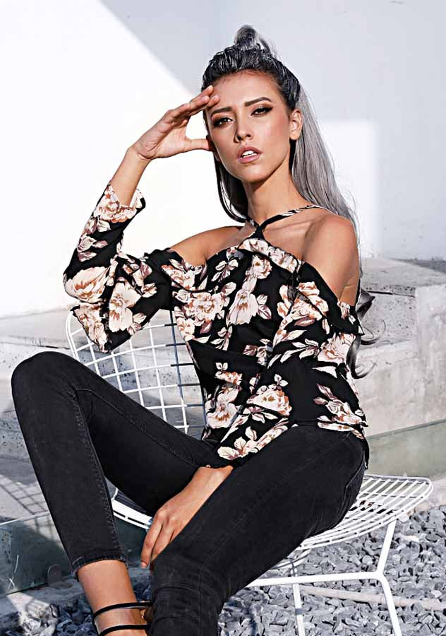 Women Fashion Floral Off Shoulder Chiffon Blouse | Edlpe
