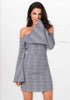 Image of Elegant Off Shoulder Bells Sleeves Grid Mini Dress | Edlpe