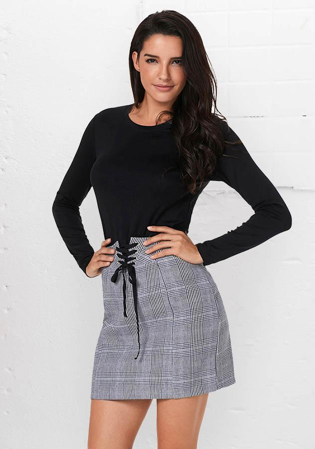 Women Chic Lace Up Grid Mini Skirt With Zipper | Edlpe