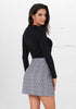 Image of Women Chic Lace Up Grid Mini Skirt With Zipper | Edlpe