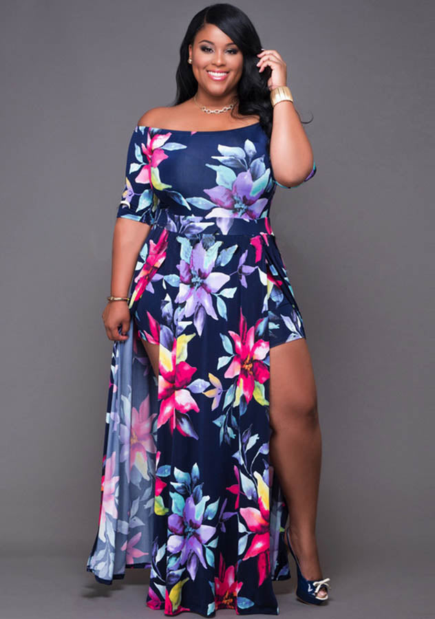 One Piece Off Shoulder Floral Holiday Maxi Dress | Edlpe