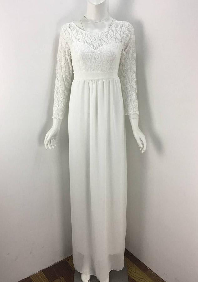 Women Sexy Lace Stitching Maxi Dress | Edlpe