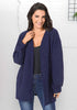 Image of Women Fashion Dark Blue Fil-Lumiere Puff Sleeves Knitting Cardigan | Edlpe