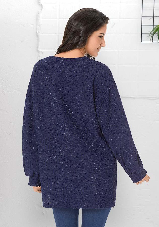 Women Fashion Dark Blue Fil-Lumiere Puff Sleeves Knitting Cardigan | Edlpe