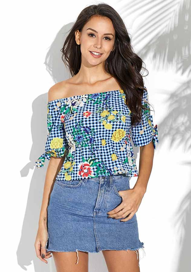 Women Chic Blue Off Shoulder Lace Up Sleeves Shirt | Edlpe