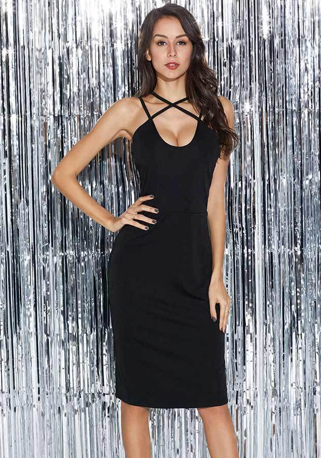 Women Sexy Cross Sling Cocktail Bodycon Dress | Edlpe