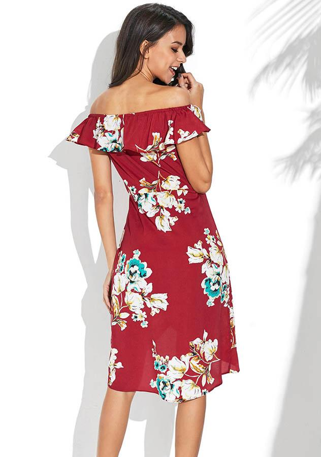 Women Wine Red Off Shoulder Irregular Vacation Dress | Edlpe