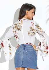 White Floral Keyhole Bell Sleeves Choker Blouse