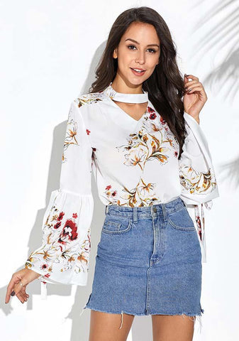 White Floral Keyhole Bell Sleeves Choker Blouse | Edlpe