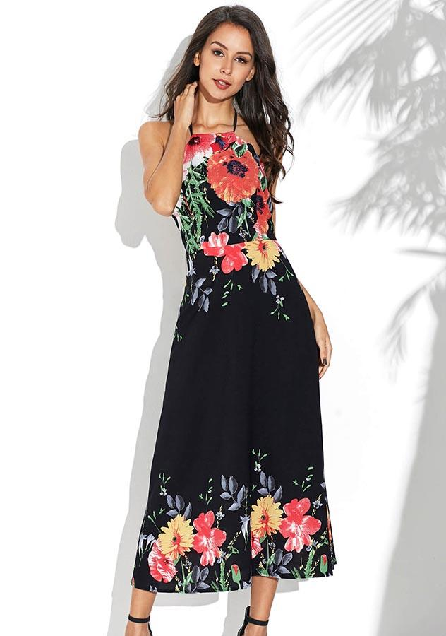 Holiday Floral Halter Chiffon Maxi Dress | Edlpe