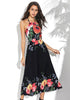 Image of Holiday Floral Halter Chiffon Maxi Dress | Edlpe