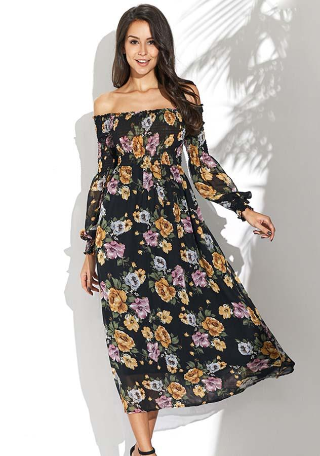 Vintage Chiffon Floral Off Shoulder See Through Sleeves Long Dress | Edlpe