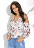 Image of Chiffon V Neck Floral Cold Shoulder Long Sleeves Blouse | Edlpe