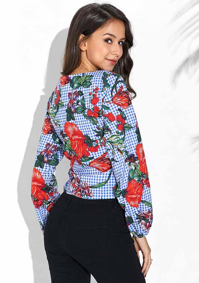 Blue Grid Flower Print Puff Sleeves Blouse | Edlpe