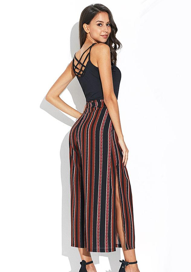 Stripe Bohemia Lace Up Slit Wide Legs Trousers | Edlpe