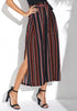 Image of Stripe Bohemia Lace Up Slit Wide Legs Trousers | Edlpe