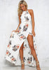 Image of Floral Print Beach Halter Split Backless Long Dress | Edlpe