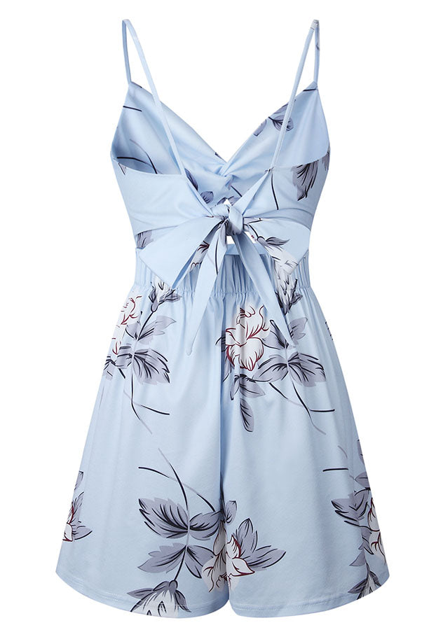 Light Blue Sling Bow Backless Floral Romper | Edlpe