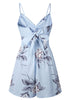 Image of Light Blue Sling Bow Backless Floral Romper | Edlpe