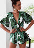 Image of Deep V Neck Green Leaves Sexy Holiday Romper | Edlpe